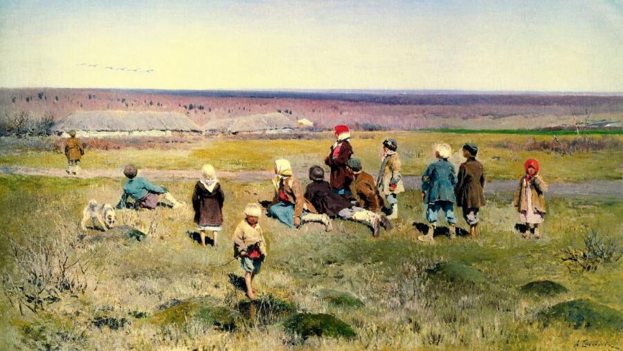 А. С. Степанов, «Журавли летят», фрагмент, 1891 г.