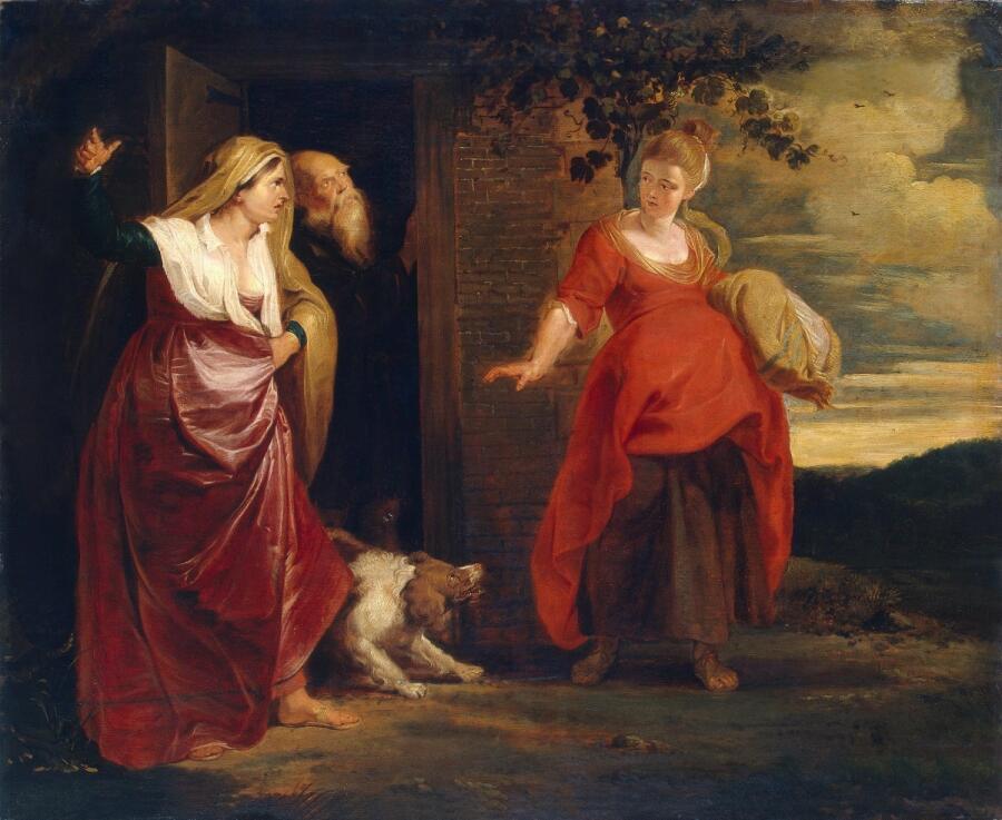 Рубенс «Агарь изгоняют из дома Аврама», 1615 г., фрагмент