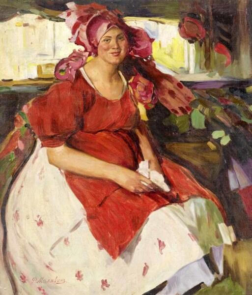 Ф. А. Малявин, «Женщина в красном фартуке», фрагмент, 1900-е гг.