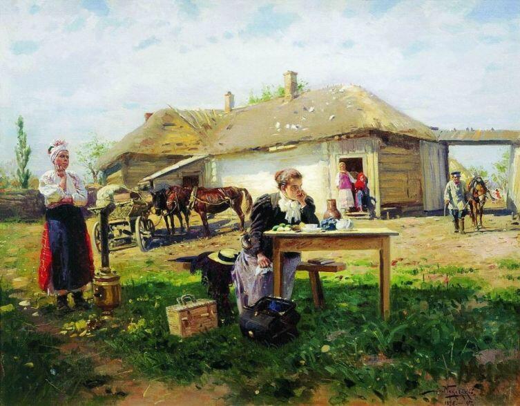 В. Е. Маковский, «Приезд учительницы в деревню», фрагмент, 1897 г.