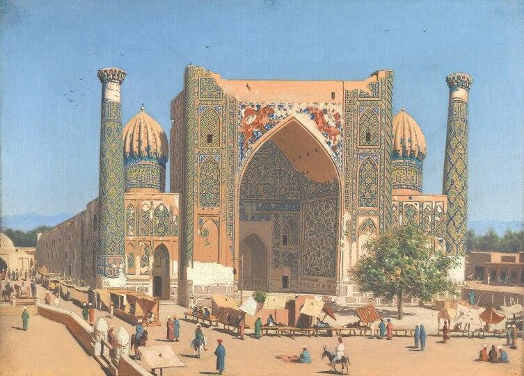 Медресе Шер-Дор на площади Регистан в Самарканде. Картина В. Верещагина, 1869—1870 гг.