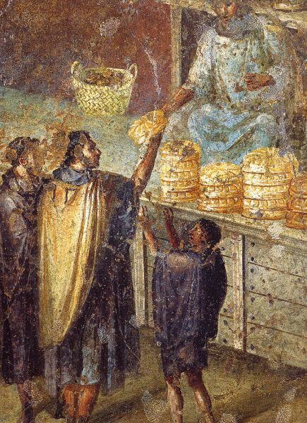Фреска из Помпеи. Исследователи считают, что на фреске изображён эдил, раздающий хлеб городской бедноте