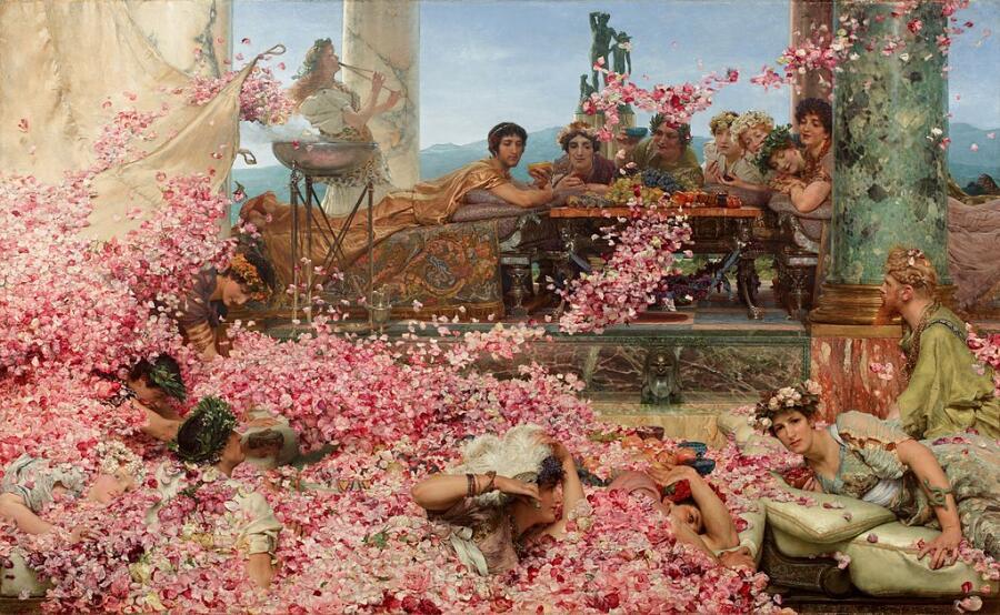 «Розы Гелиогабала». Картина о том, что на пиру у императора Элагабала лепестки роз рассыпались в таком количестве, что часть гостей задыхалась, не в силах выбраться из-под завалов. Лоуренс Альма-Тадема, 1888 г.