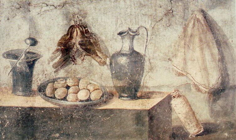 Фреска с изображением кухонной посуды. Дом Юлии Феликс, Помпеи