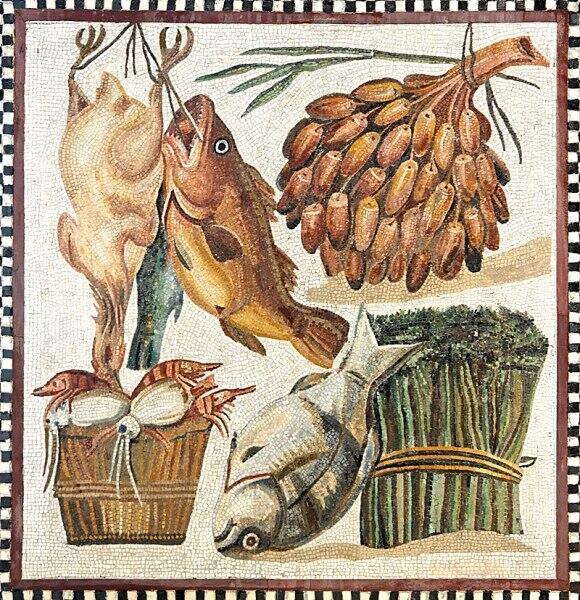 Птица, рыба, финики, спаржа и морепродукты. I век. Мозаика, музеи Ватикана