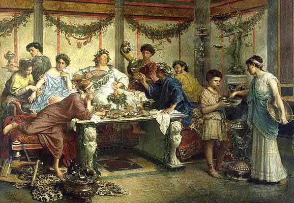 Римский пир, 1875 г., Художник Роберто Бомпиани. Музей Гетти