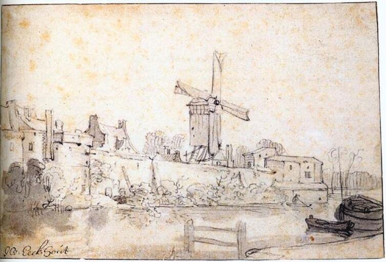 Гербранд Ван ден Экхоут, «Городская стена Дельфта с мельницей по прозванию