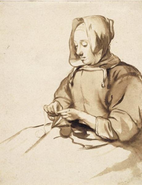 Гербранд Ван ден Экхоут, « Женщина за рукоделием», 1670 г.