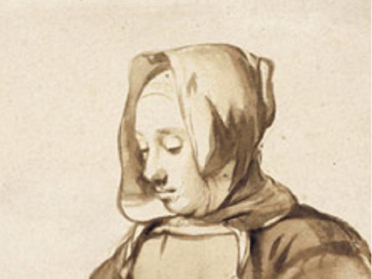 Гербранд Ван ден Экхоут, « Женщина за рукоделием», фрагмент, 1670 г.
