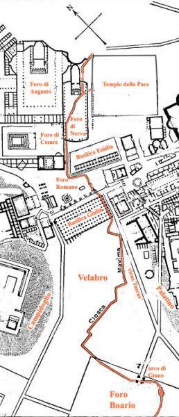 Клоака Максима на карте Рима