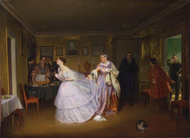 П. А. Федотов, «Сватовство майора (Смотрины в купеческом доме)», авторское повторение, 1851 г.