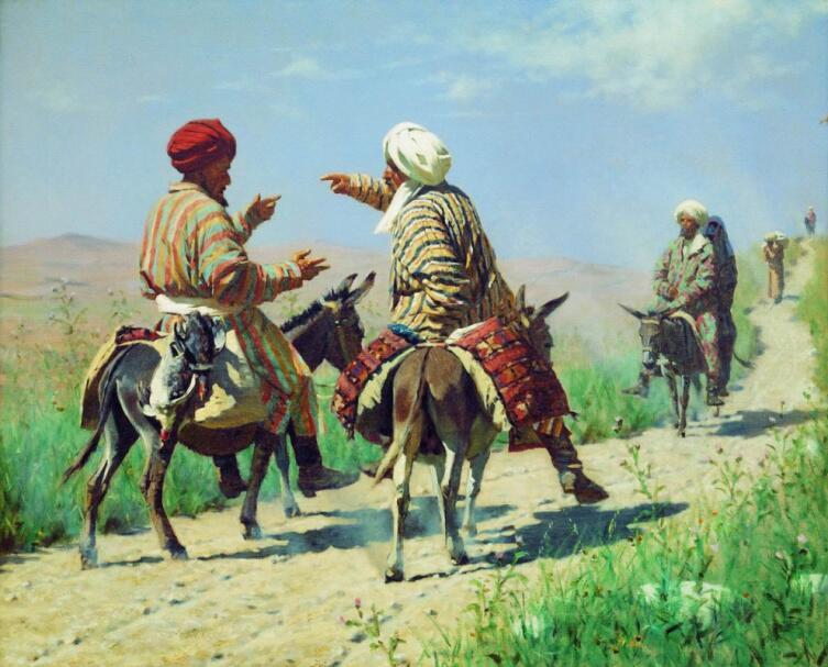 В. В. Верещагин, «Мулла Рахим и мулла Керим по дороге на базар ссорятся», 1873 г.