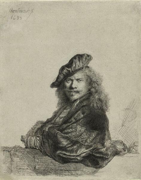 Рембрандт, «Офорт с автопортретом», 1639 г.