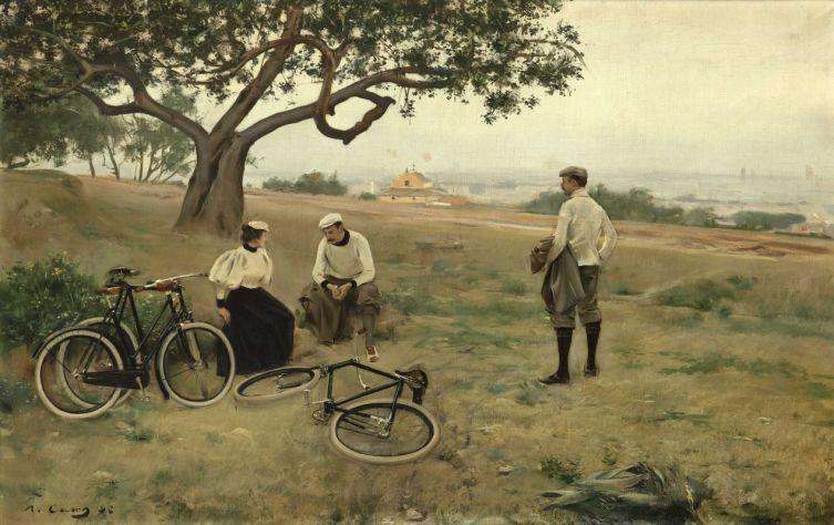 Рамон Касас Карбо, «Отдыхающие велосипедисты (Отставшие велосипедисты)», 1896 г.