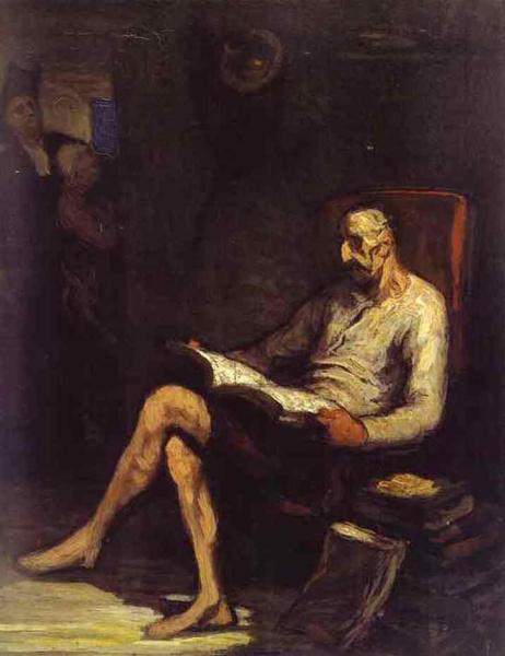 Оноре Домье, «Кон Кихот, читающий рыцарский роман», 1870 г.