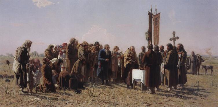 Г. Г. Мясоедов, «Молебен во время засухи», 1880 г.