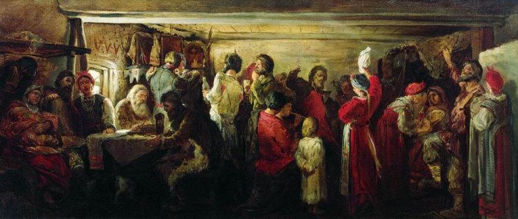 А. П. Рябушкина, «Крестьянская свадьба в Тамбовской губернии», 1880 г.
