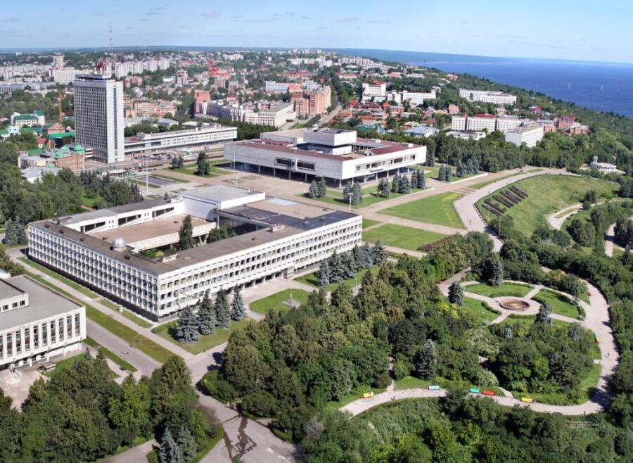 Вид на центр города Ульяновска с высоты птичьего полёта