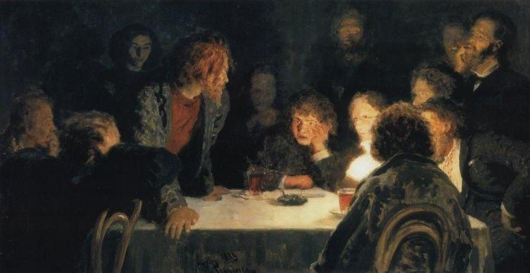 И. Е. Репин, «Сходка (При свете лампы)», 1883 г.