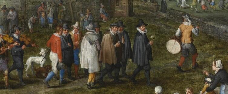 Ян Брейгель Старший, «Деревенская свадьба», фрагмент «Глашатай с барабаном, жених и его свита», 1612 г.