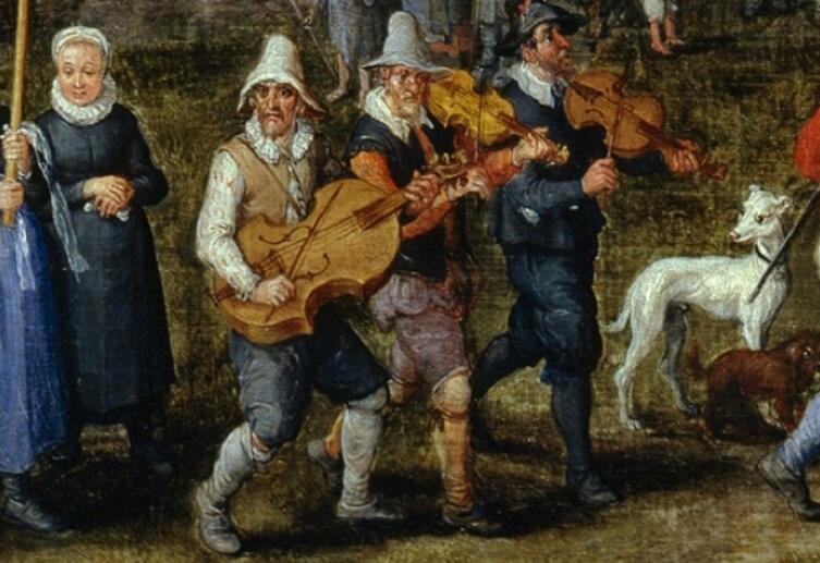 Ян Брейгель Старший, «Деревенская свадьба», фрагмент «Музыканты», 1612 г.