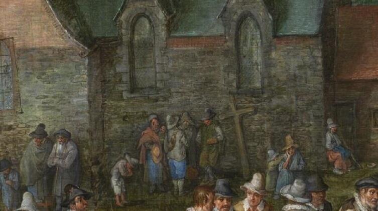 Ян Брейгель Старший, «Деревенская свадьба», фрагмент «Приготовление к похоронам и нищие», 1612 г.