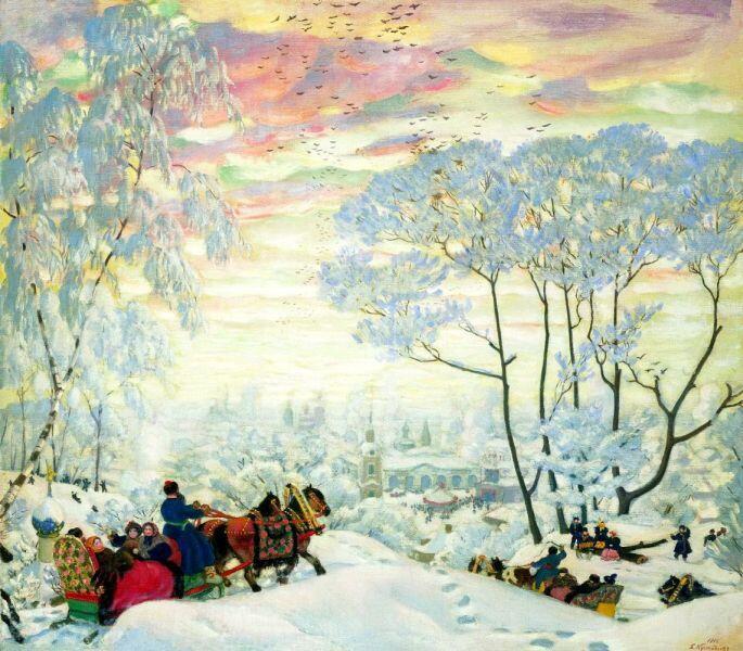 Б. М. Кустодиев, «Зима» вариант картины «Масленица», 1916 г.