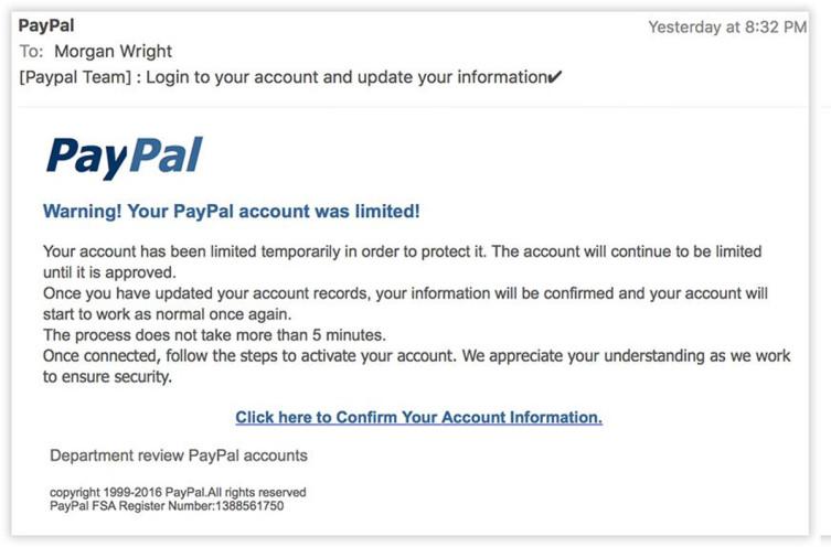 PayPal никогда не рассылает подобных писем