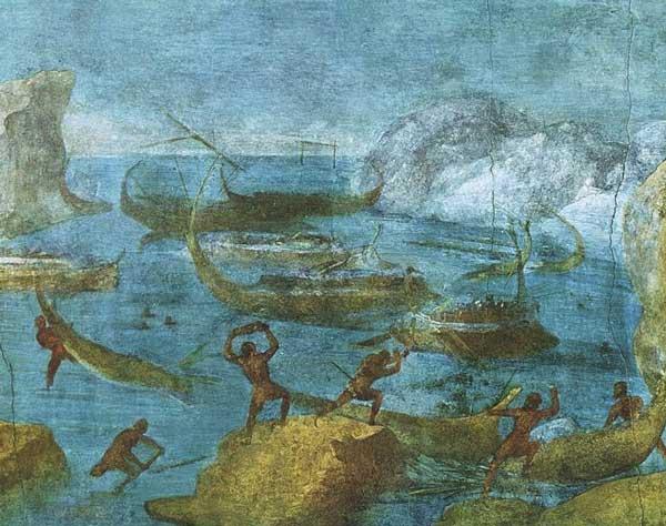 Лестригоны бросают камни в корабли Одиссея. Римская фреска. I век до н. э.  Предполагается, что это происходило в Балаклавской бухте