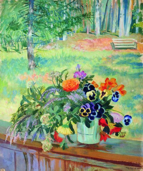 Б. М. Кустодиев, «Букет цветов на балконе», 1924 г.