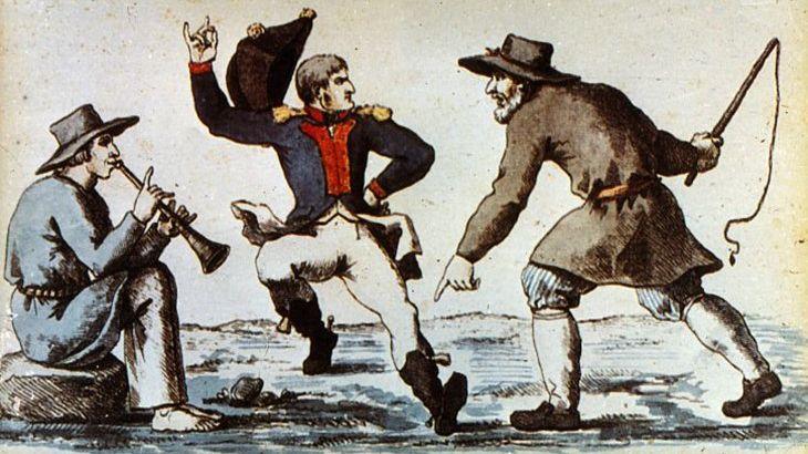 И. Теребениев, «Карикатура на провал захватнических планов Наполеона», 1813 г.