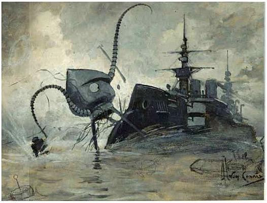 Миноносец «Сын грома» сражается с треножниками марсиан (иллюстрация к изданию 1906 года романа Герберта Уэллса «Война миров», художник Кориа)