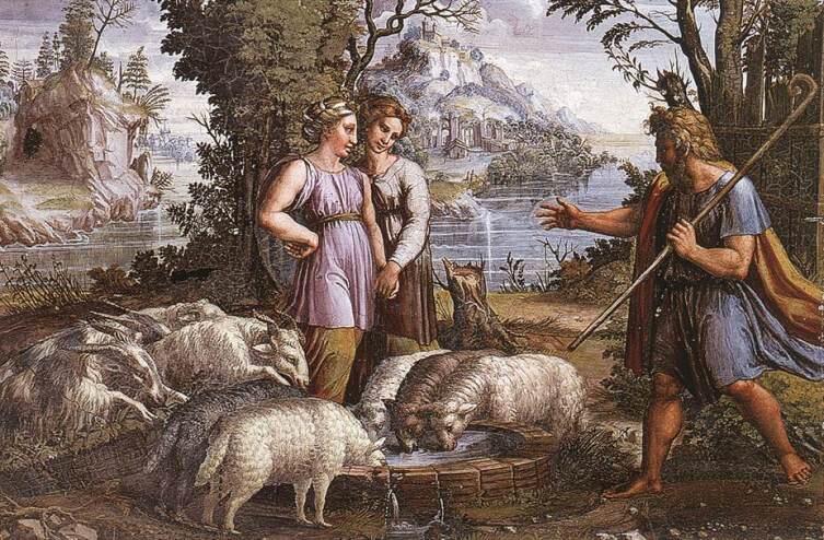 Рафаэль Санти, «Встреча Иакова с Рахилью», фреска
