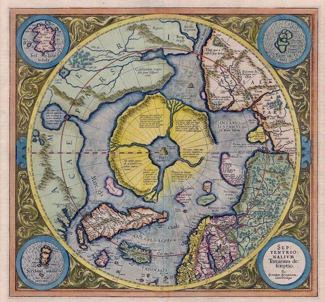 Арктический континент на карте Герарда Меркатора 1595 г.