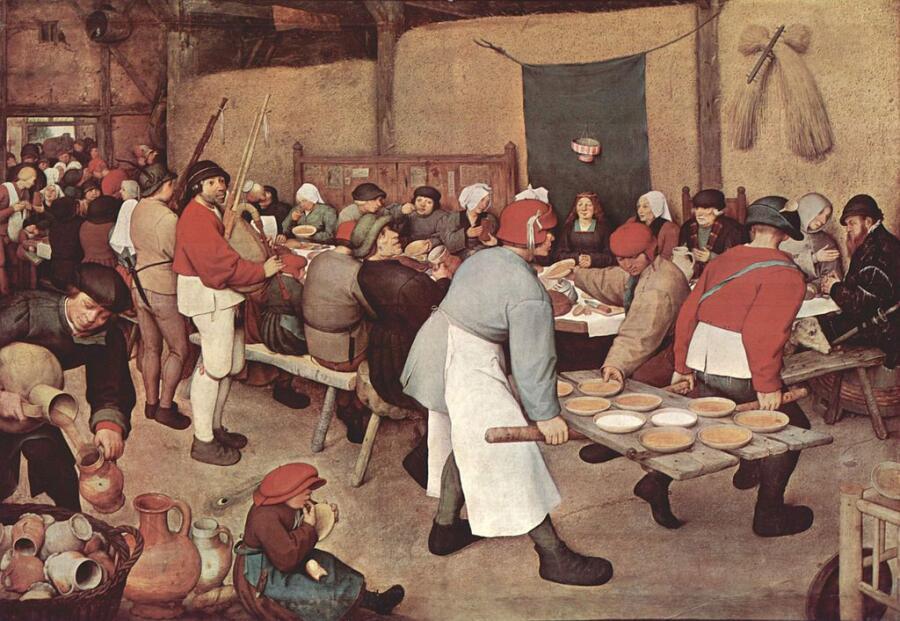 Питер Брейгель Старший, «Крестьянская свадьба», 1566 г., 114×164 см, Музей истории искусств, Вена, Австрия.