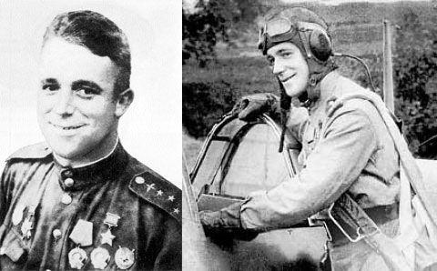 Виталий Попков, которому только что вручили первую Звезду Героя, перед взлетом своего «Лавочникова». 1943 год.