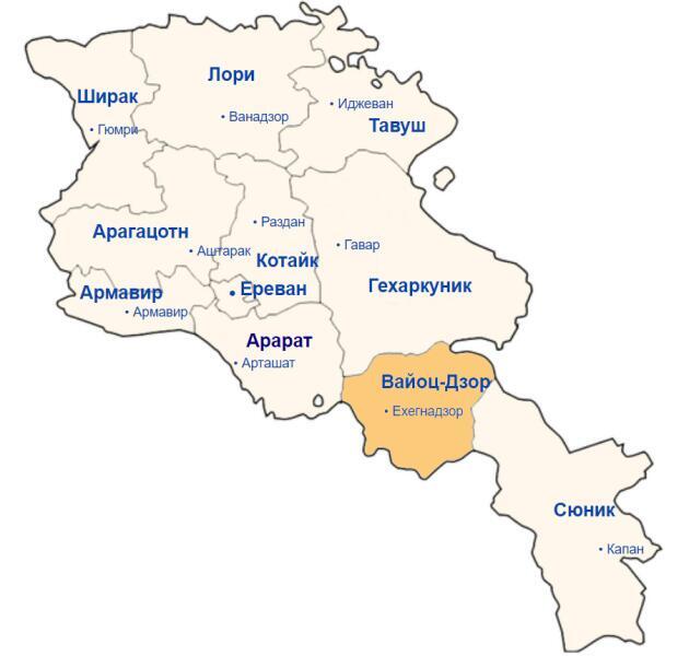Карта Армении, область Вайоцдзор