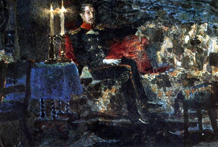 М. Врубель, «Портрет офицера (Печорин на диване)», 1889 г.