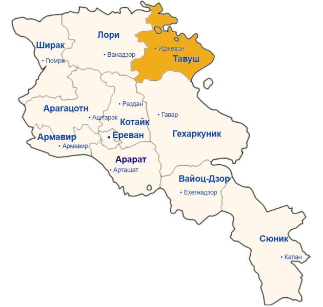 Карта области Тавуш (Армения)