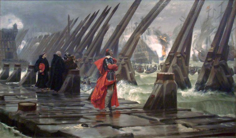 Анри Мотте, «Кардинал Ришельё на осаде Ла-Рошели», 1881 г.