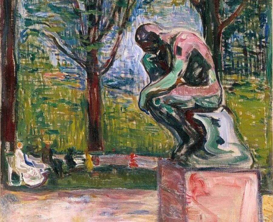 Эдвард Мунк, ««Мыслитель» Родена в саду Доктора Линде в Любеке», фрагмент, 1907 г.