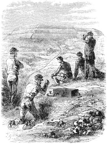 Взрывные работы с помощью динамита, рисунок из французского журнала La Nature, 1873 г.