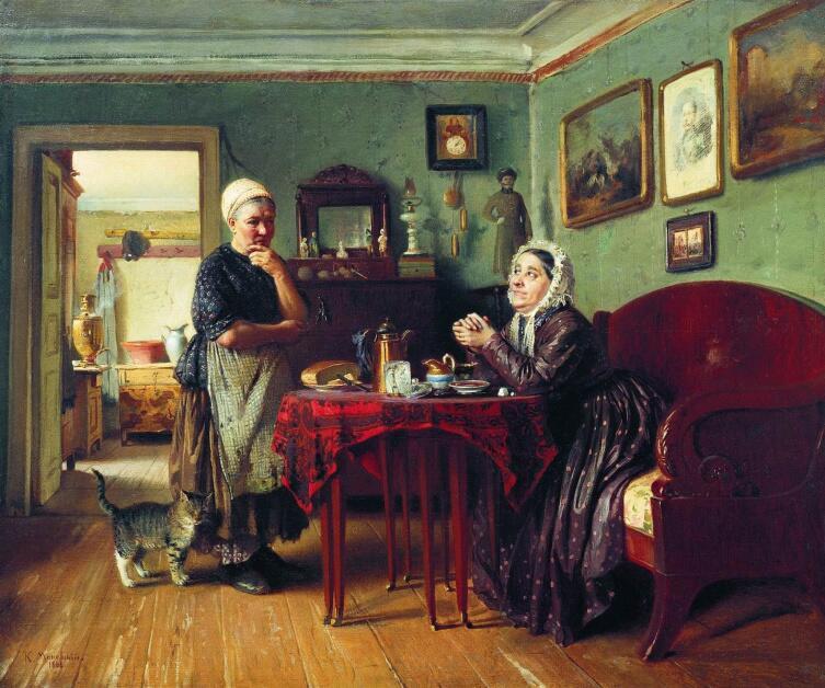 К. Е. Маковский, «Разговоры по хозяйству», 1868 г.