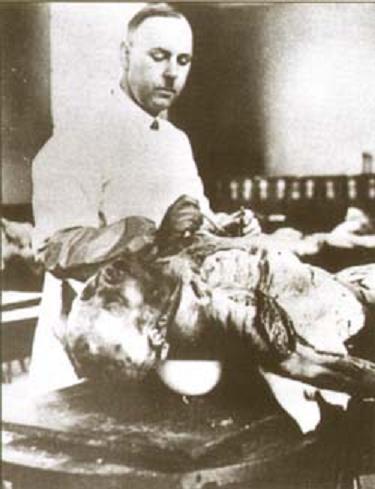 Август Хирт, анатом и антрополог, руководитель медицинских программ Аненербе за работой