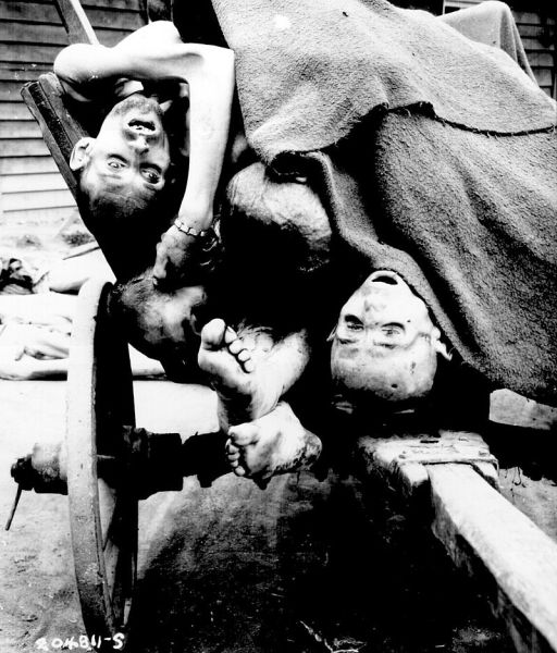 Несколько тел узников в концентрационном лагере Маутхаузен-Гузен, Австрия. Заключённых заставляли работать на каменоломне, пока они не становились слишком слабы, тогда их убивали