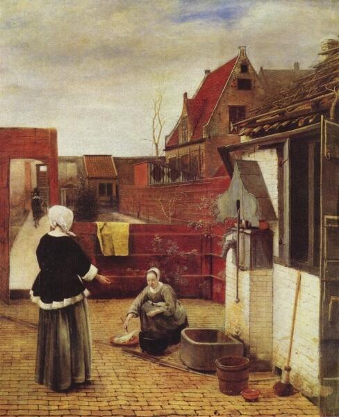 Питер де Хох, Женщина и служанка во внутреннем дворике, 1660, 73.7×62.6 см, National Gallery, Лондон, Англия