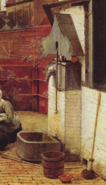 Питер де Хох, Женщина и служанка во внутреннем дворике, фрагмент «Водяная колонка и водосток»
