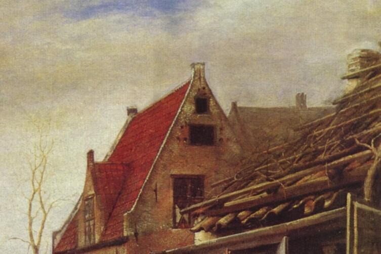 Питер де Хох, Женщина и служанка во внутреннем дворике, фрагмент «Крыши»