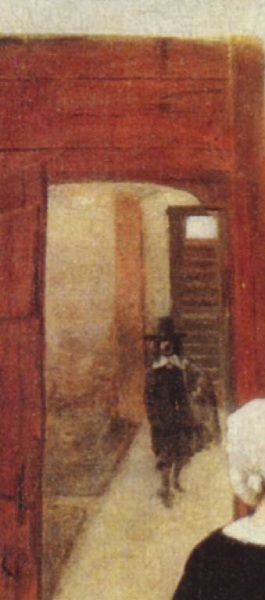 Питер де Хох, Женщина и служанка во внутреннем дворике, фрагмент «Гость»
