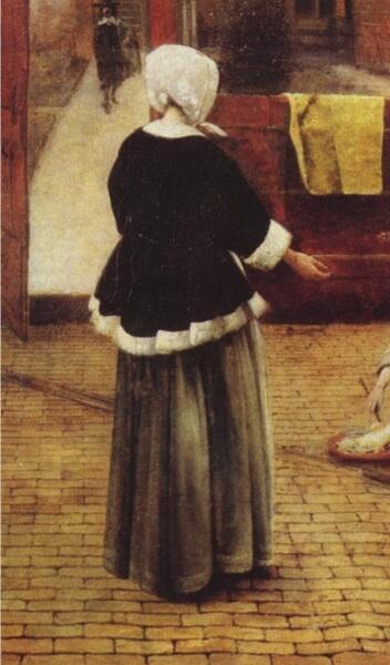 Питер де Хох, Женщина и служанка во внутреннем дворике, фрагмент «Платье»